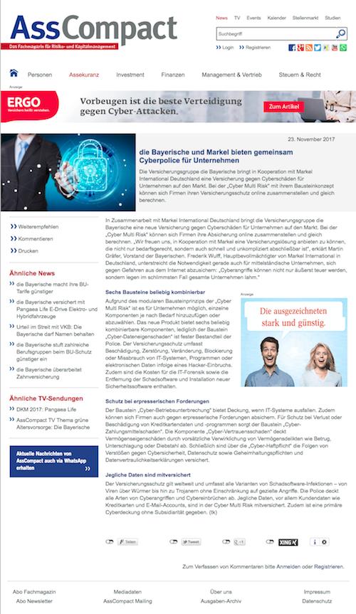 Cyberversicherung: Die Bayerische und Markel bieten gemeinsam Cyberpolice für Unternehmen