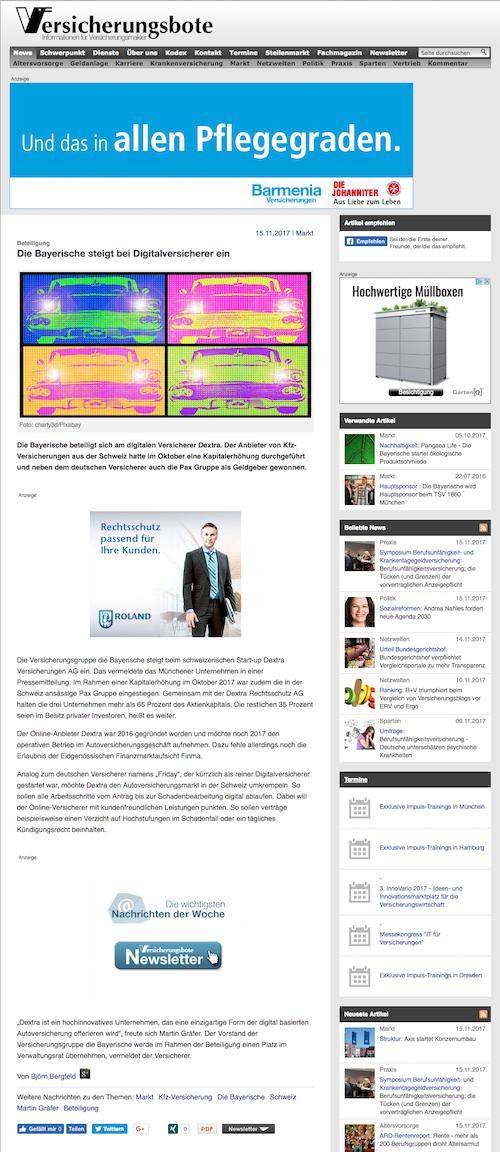 Die Bayerische steigt bei Digitalversicherer Dextra Versicherungen ein