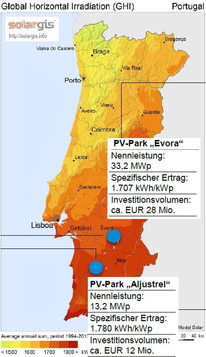 Karte der neuen Solarparks