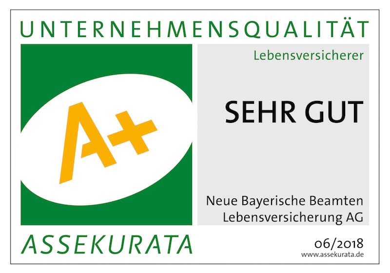 """Assekurata Siegel A+ """"sehr gut"""" für die Neue Bayerische Beamten Lebensversicherung AG"""